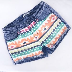 Aztec/Tribal Colorful Jean Shorts | Large
